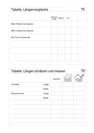 tabellen zu l ngen l ngenvergleiche sch tzen und messen das grundschulprogramm der. Black Bedroom Furniture Sets. Home Design Ideas