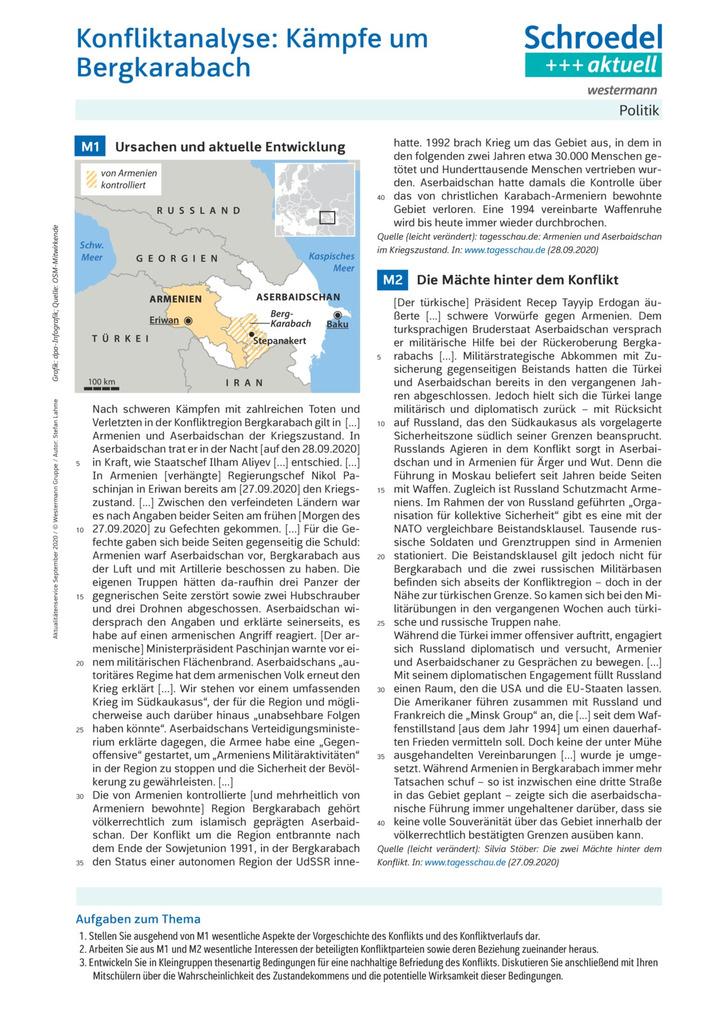 Konfliktanalyse Kampfe Um Bergkarabach Politik Ab Klasse 9 Verlage Der Westermann Gruppe
