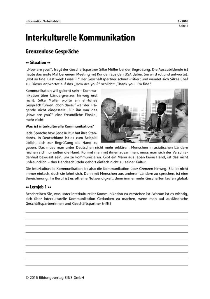 Interkulturelle Kommunikation - Arbeitsblätter: Verlage der ...