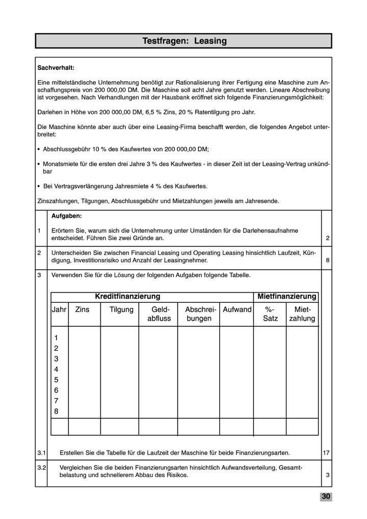 Testfragen: Leasing - Test: Bildungsverlag EINS