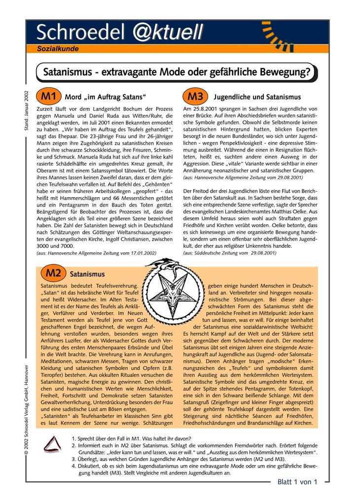 Satanismus - extravagante Mode oder gefährliche Bewegung? - - ein ...