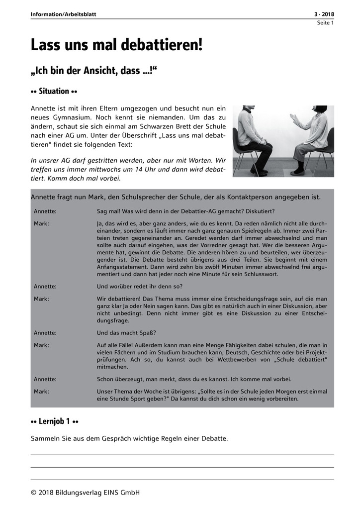 Lass\' uns mal debattieren!: unterrichtsthemen Deutsch/Kommunikation