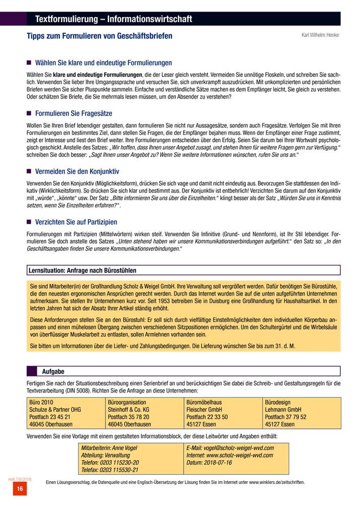 Tipps Zum Formulieren Von Geschäftsbriefen Aufgabenblatt Das
