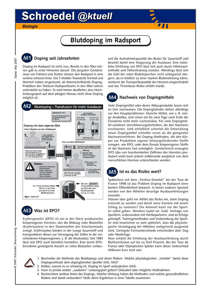 blutdoping im radsport ein arbeitsblatt mit informationen zu epo ab klasse 10 verlage der. Black Bedroom Furniture Sets. Home Design Ideas