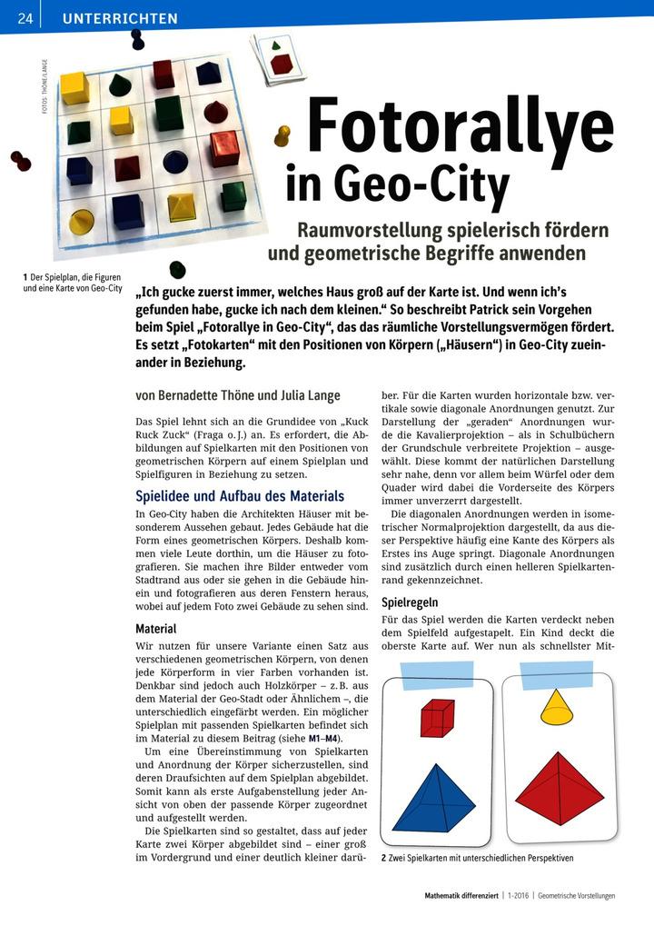 Fotorallye in Geo-City - Raumvorstellung spielerisch fördern und ...