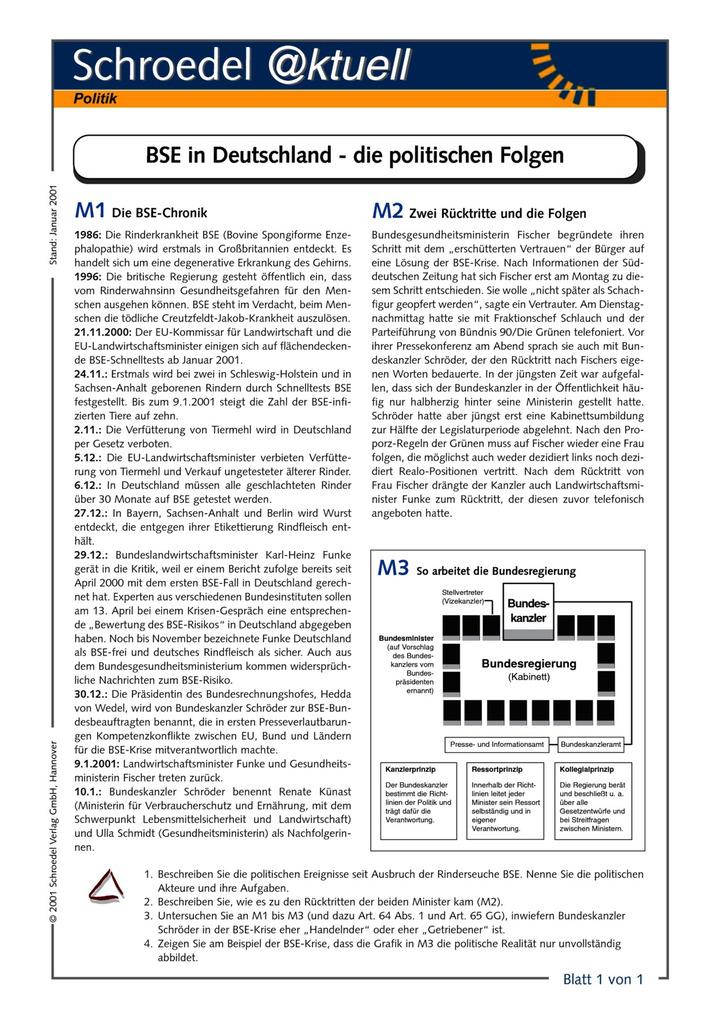 BSE in Deutschland - die politischen Folgen - - ein Arbeitsblatt zu ...