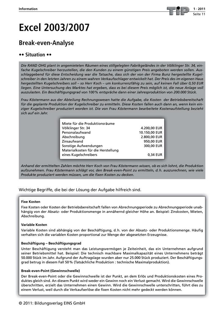 Excel 2003/2007 - Break-even-Analyse: Verlage der Westermann Gruppe