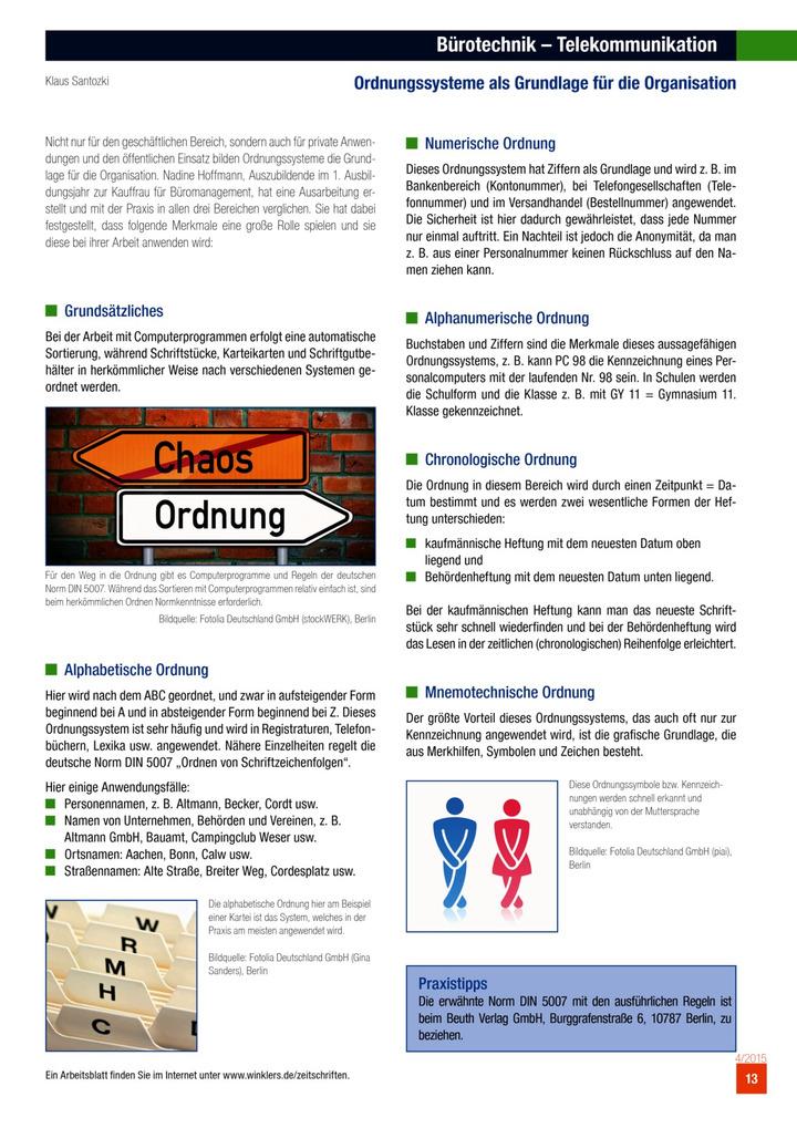 Bürotechnik - Telekommunikation - Ordnungssysteme als Grundlage für ...