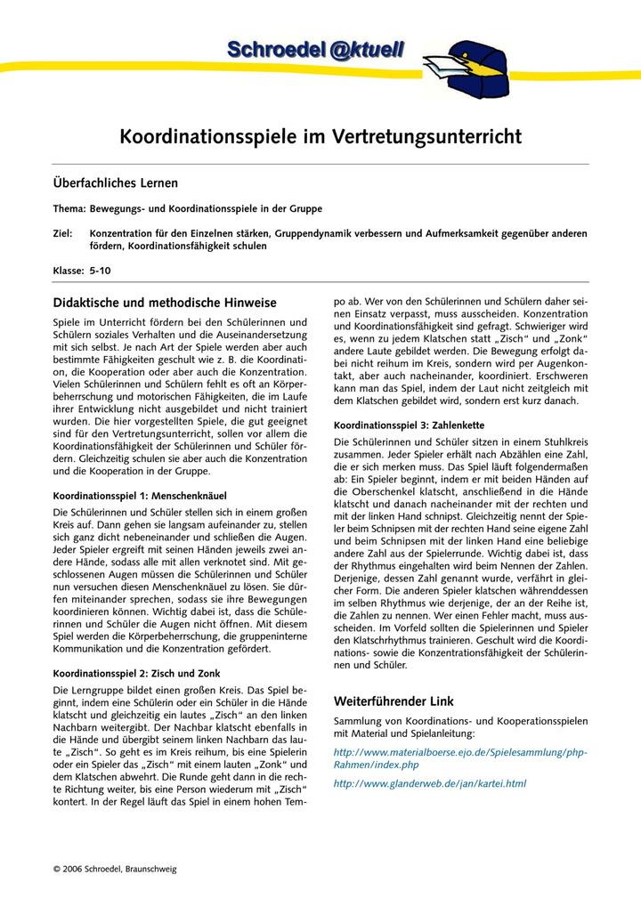 Koordinationsspiele im Vertretungsunterricht - - ein Arbeitsblatt ...