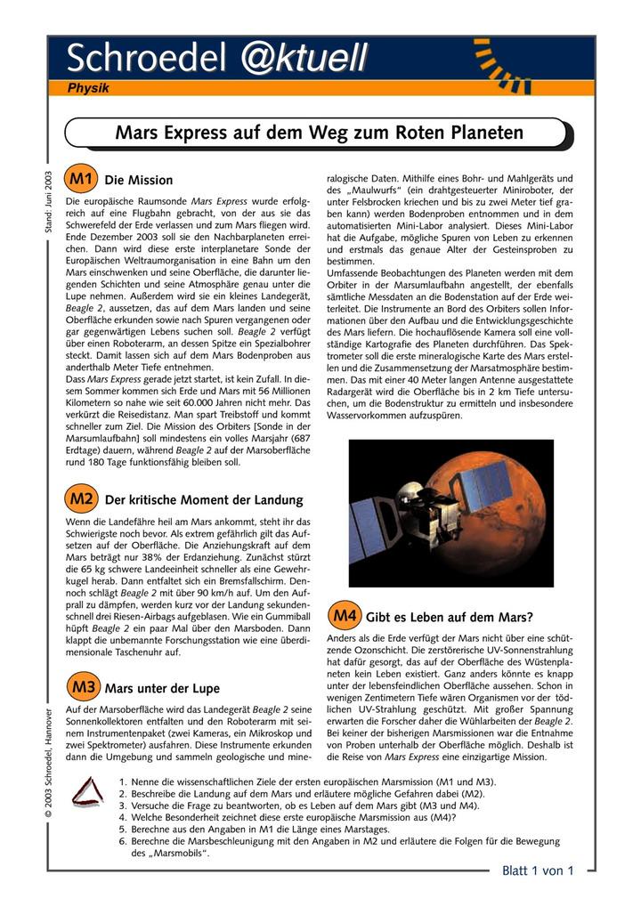 Mars Express auf dem Weg zum Roten Planeten - - ein Arbeitsblatt für ...