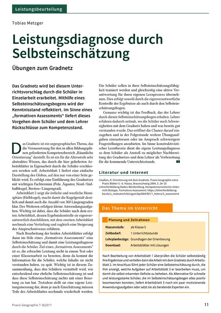 Leistungsdiagnose durch Selbsteinschätzung - Übungen zum Gradnetz ...