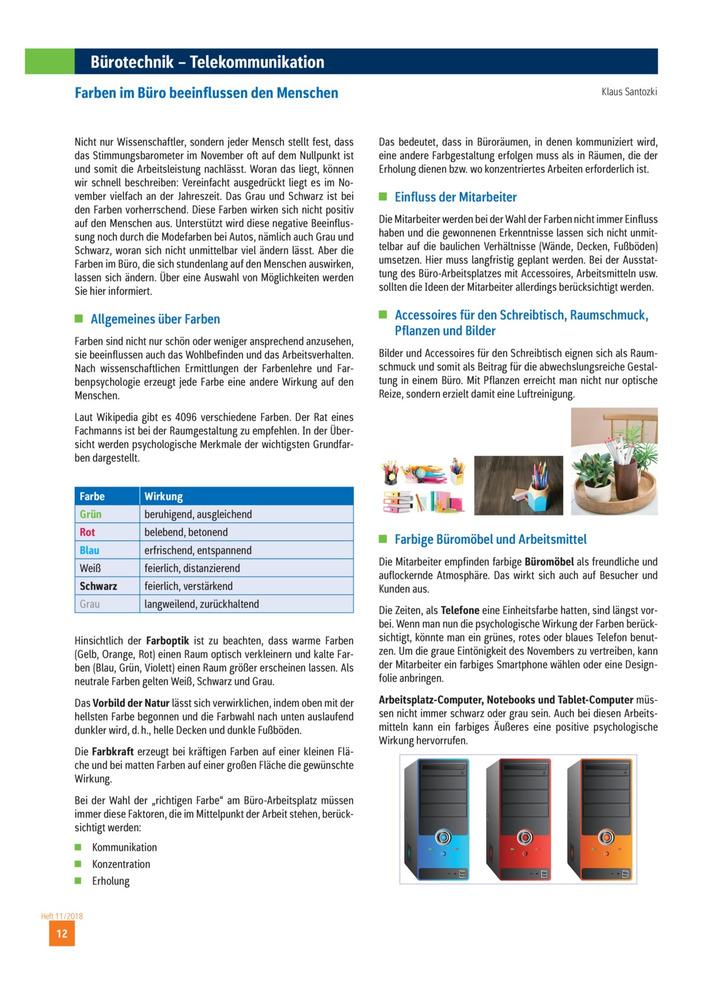 Burotechnik Telekommunikation Farben Im Buro Beeinflussen Den