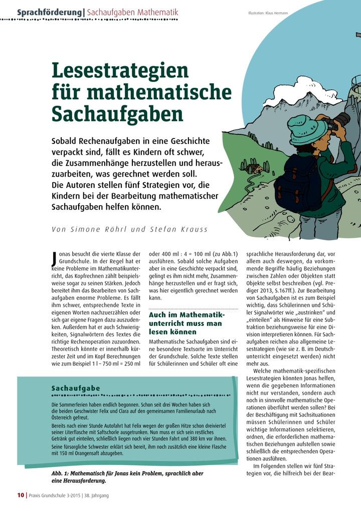 Lesestrategien für mathematische Sachaufgaben: Verlage der ...