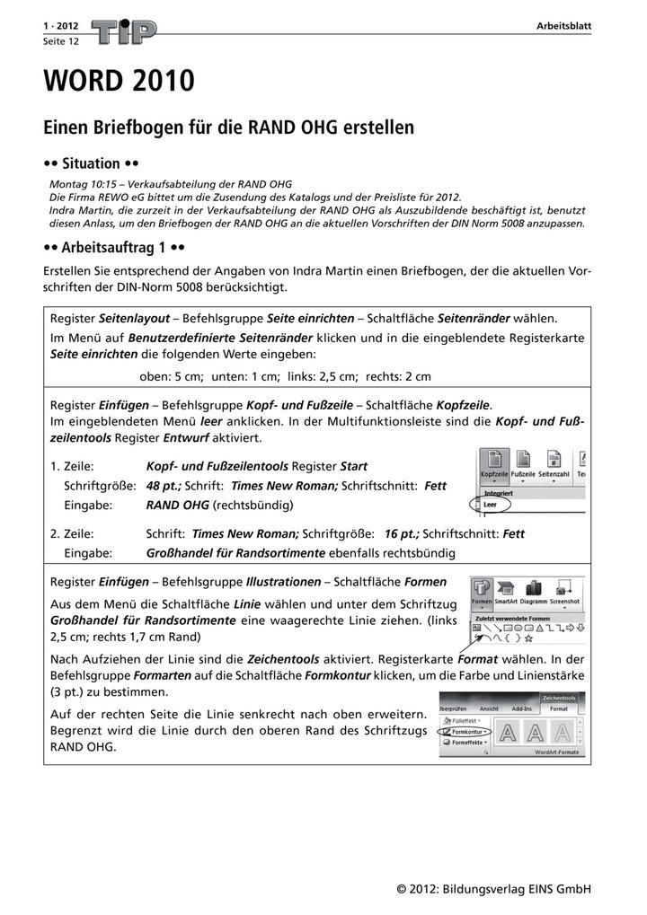 WORD 2010 - Einen Briefbogen und Namensschilder für die RAND OHG ...