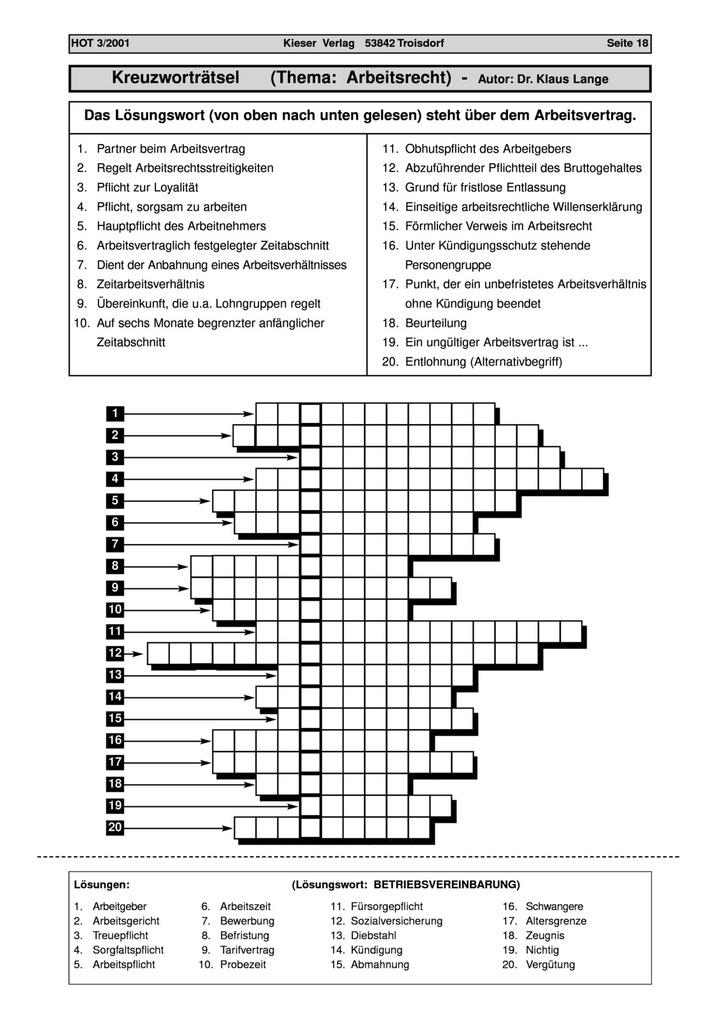 Arbeitsrecht Kreuzworträtsel Lük Lernen üben Kontrollieren