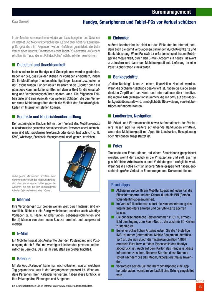 Büromanagement - Handys, Smartphones und Tablet-PCs vor Verlust ...