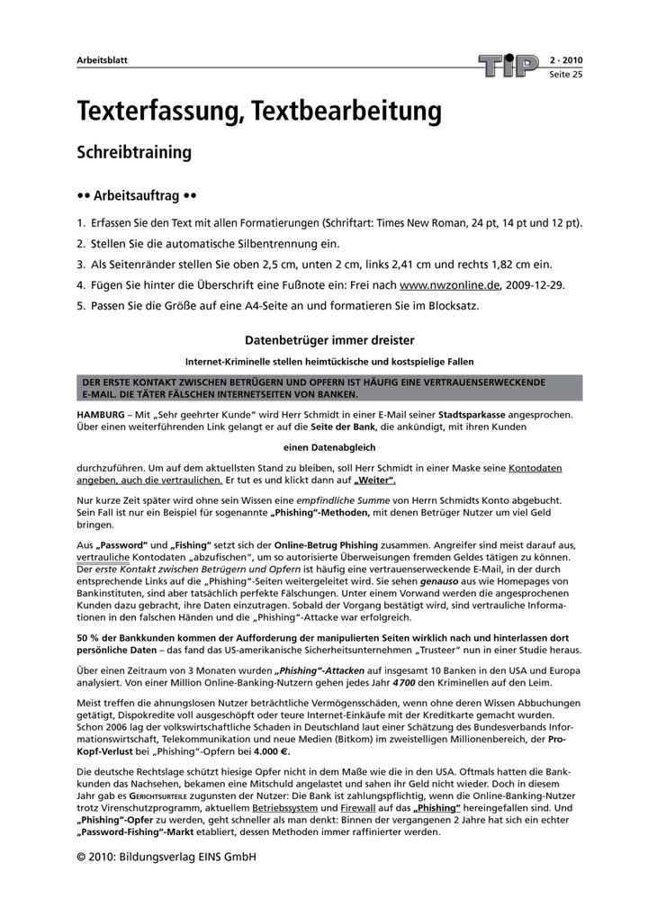 Texterfassung, Textbearbeitung - Schreibtraining: Verlage der ...