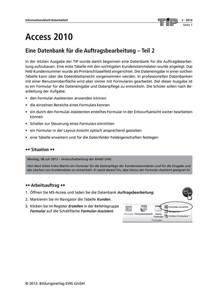 Eine Datenbank für die Auftragsbearbeitung - Teil 2 - Access 2010 ...