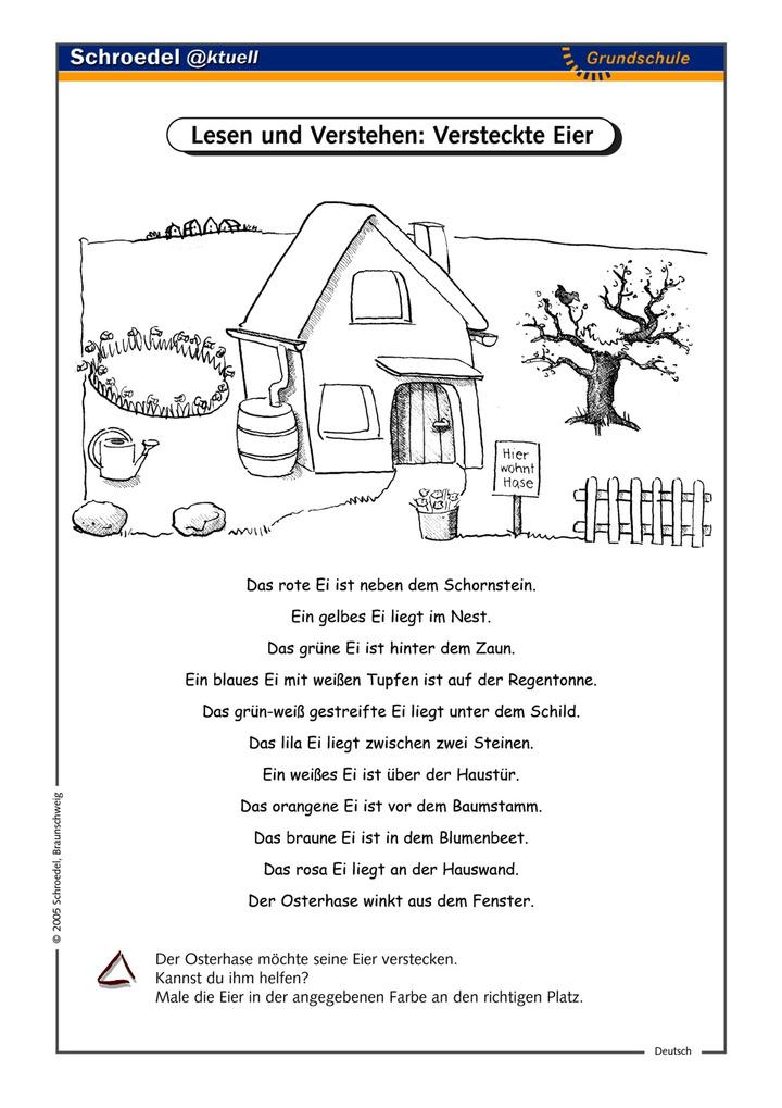 lesen und verstehen versteckte eier ein arbeitsblatt zum sinnentnehmenden lesen ab klasse. Black Bedroom Furniture Sets. Home Design Ideas