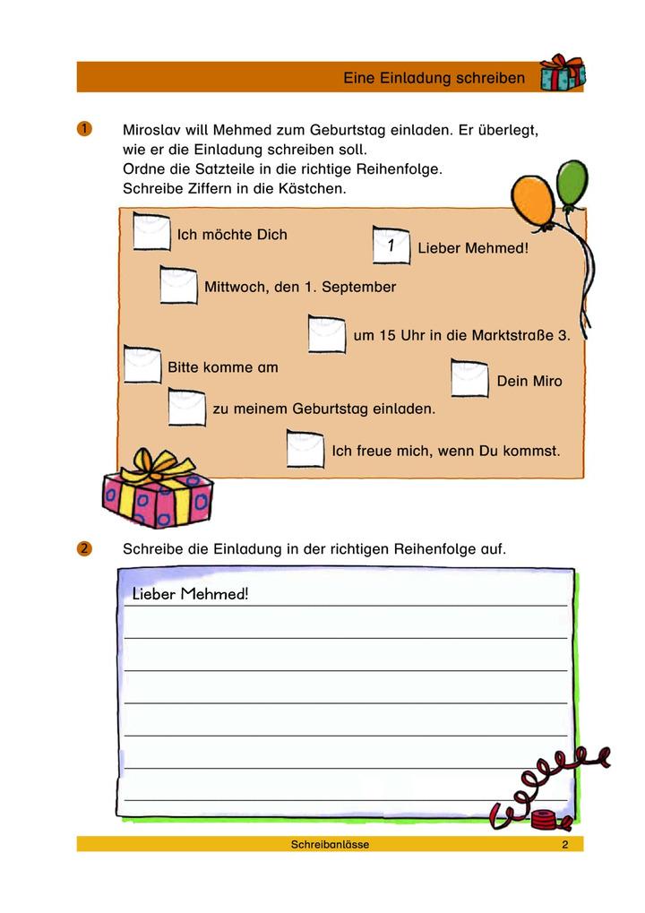 Eine Einladung schreiben - Schreibanlass Einladung: Verlage der ...