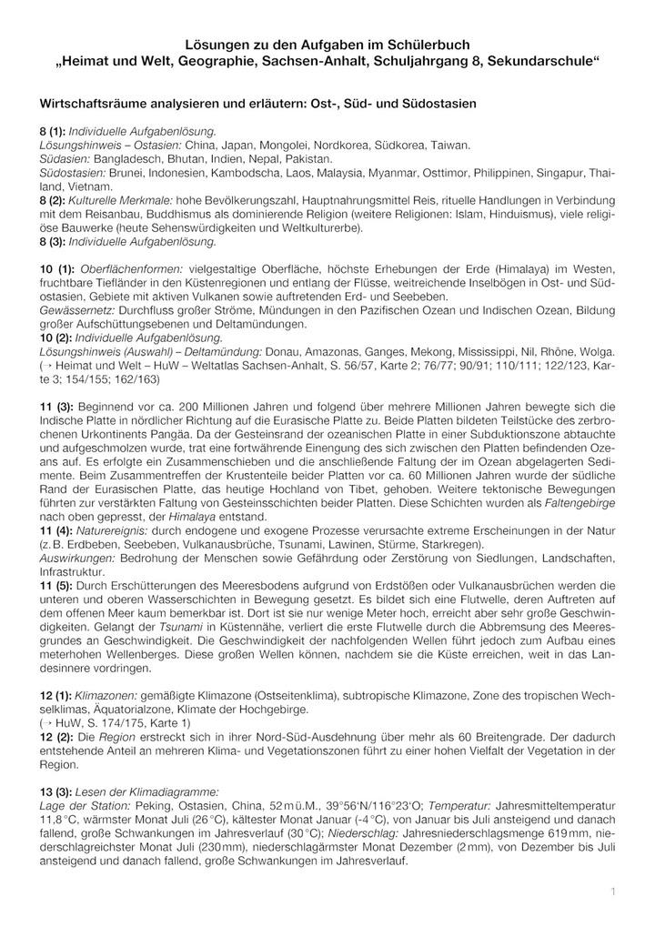 Losungen Heimat Und Welt 8 Ausgabe 2010 Fur Sekundarschulen In Sachsen Anhalt Verlage Der Westermann Gruppe