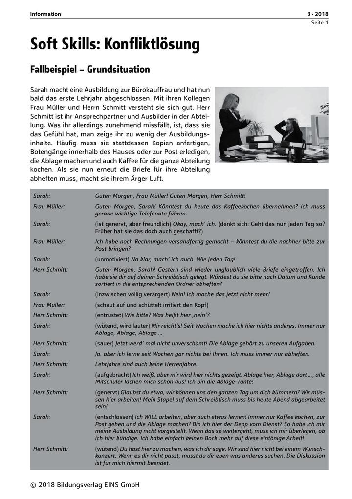 Soft Skills: Konfliktlösung - Fallbeispiel - Verhalten in ...