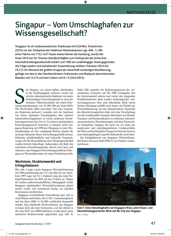 Singapur - Vom Umschlaghafen zur Wissensgesellschaft?: Verlage der ...