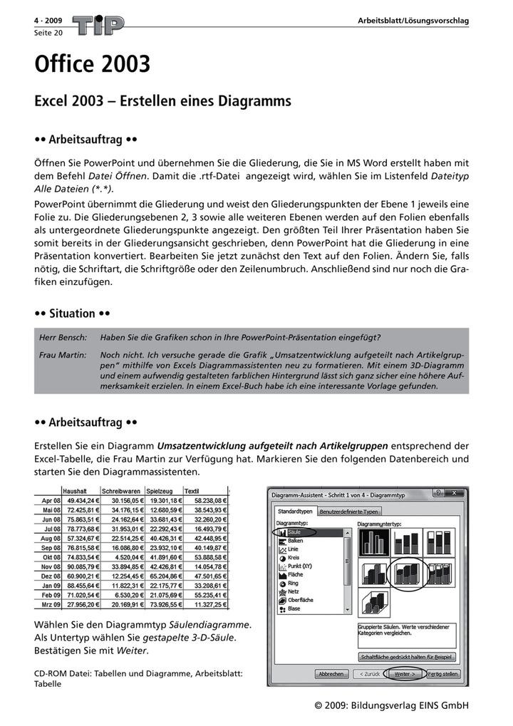Office 2003 - Excel 2003 - Erstellen eines Diagramms - Arbeitsblatt ...