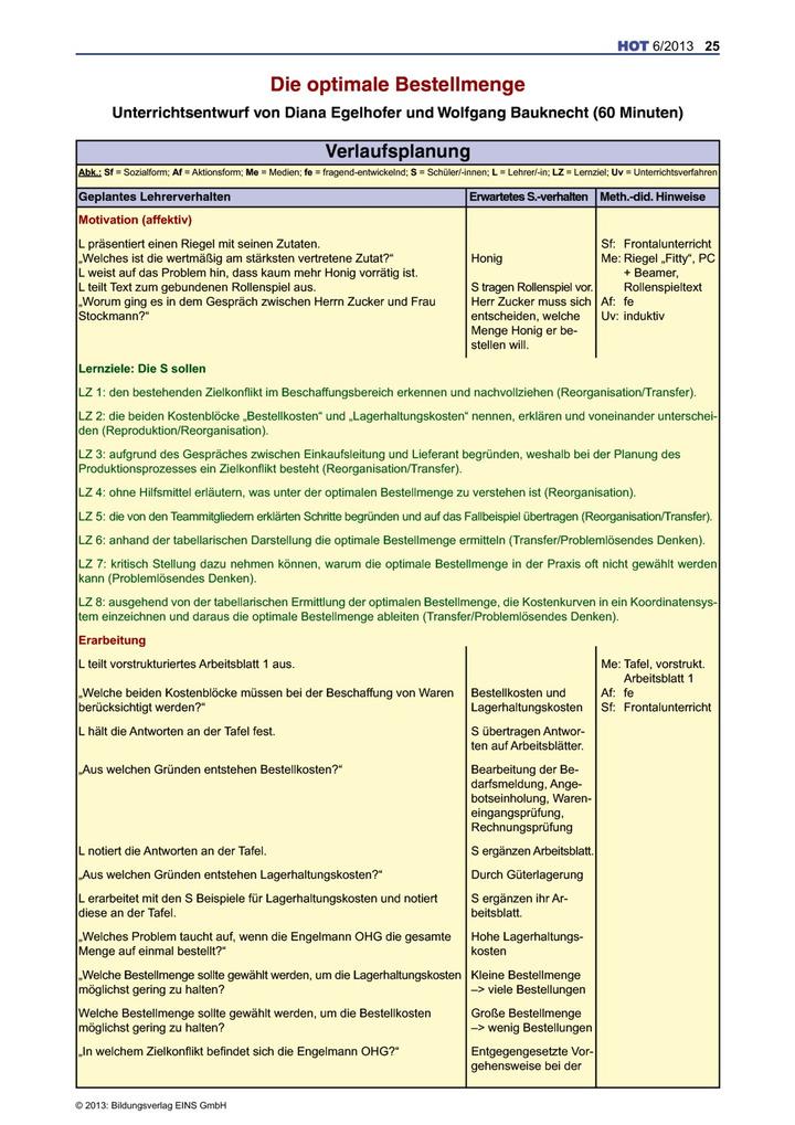 Die optimale Bestellmenge - Unterrichtsentwurf: Verlage der ...