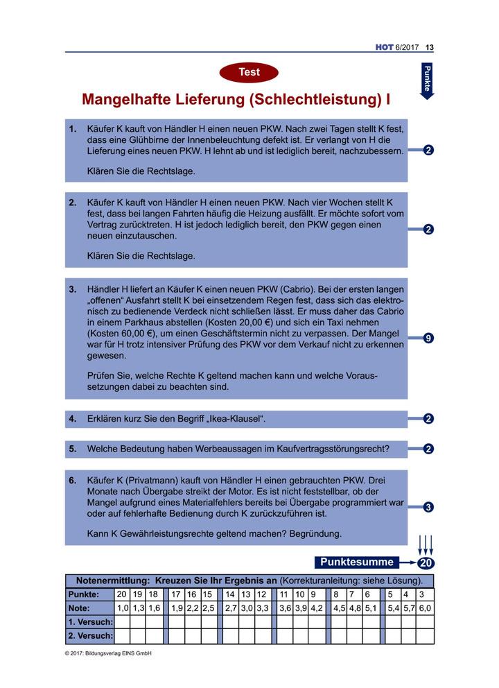 Test Mangelhafte Lieferung Schlechtleistung I Verlage Der