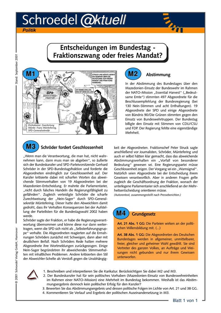 Entscheidungen im Bundestag - Fraktionszwang oder freies Mandat ...