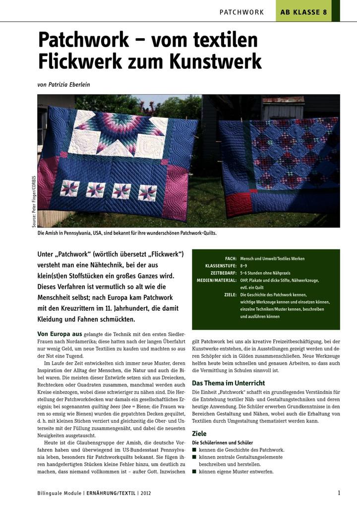 Patchwork - vom textilen Flickwerk zum Kunstwerk: LÜK - Lernen, Üben ...