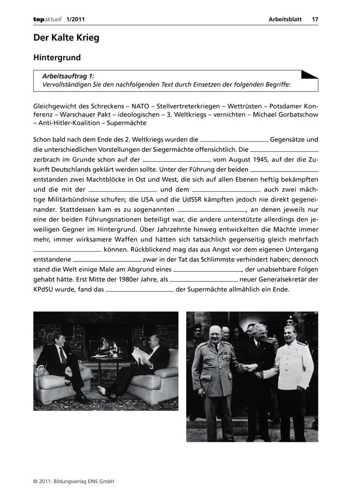 Der Kalte Krieg - Arbeitsblatt: Verlage der Westermann Gruppe