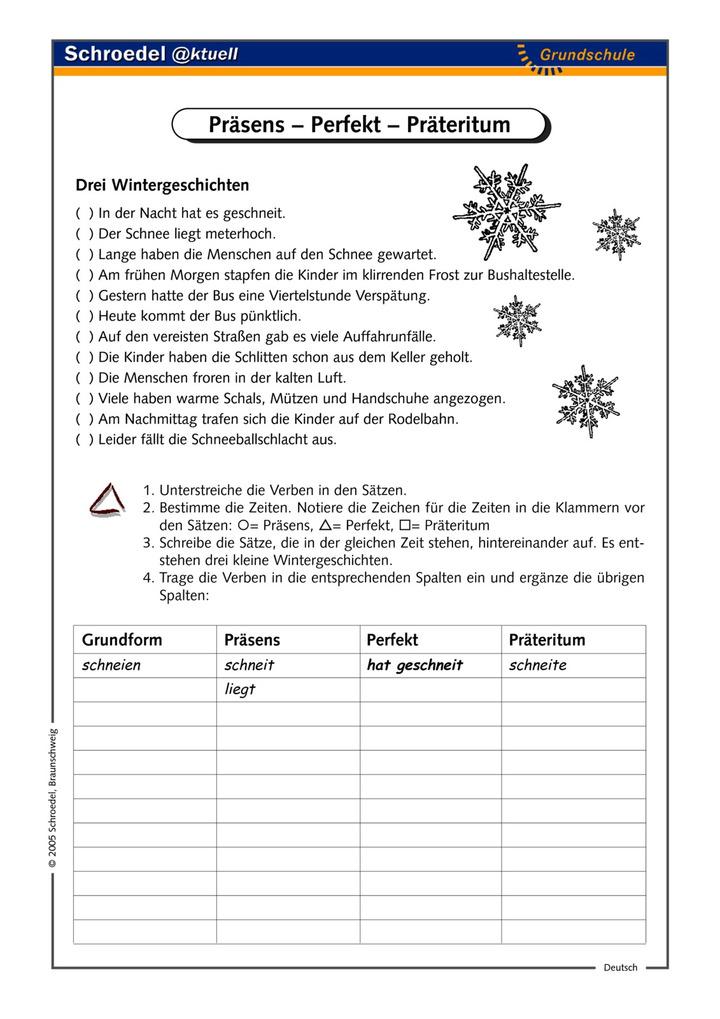 Präsens – Perfekt – Präteritum - - ein Arbeitsblatt zum Einüben der ...