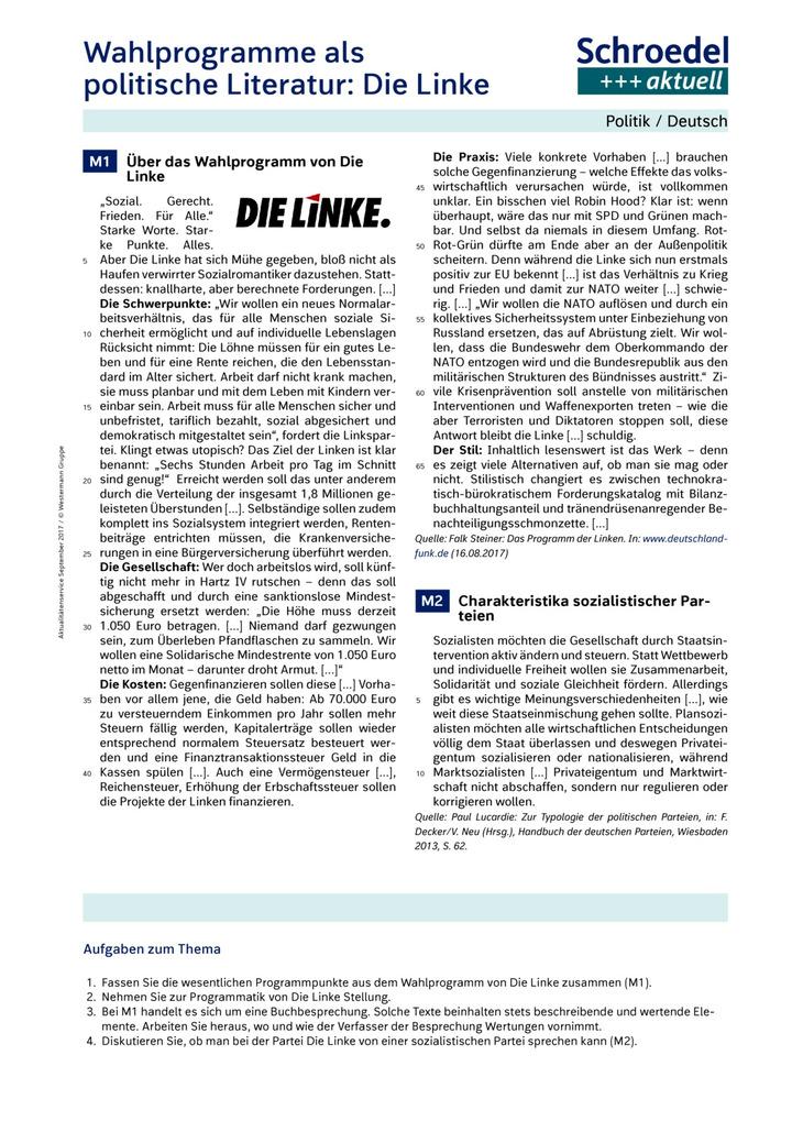Wahlprogramme als politische Literatur: Die Linke - Politik ...