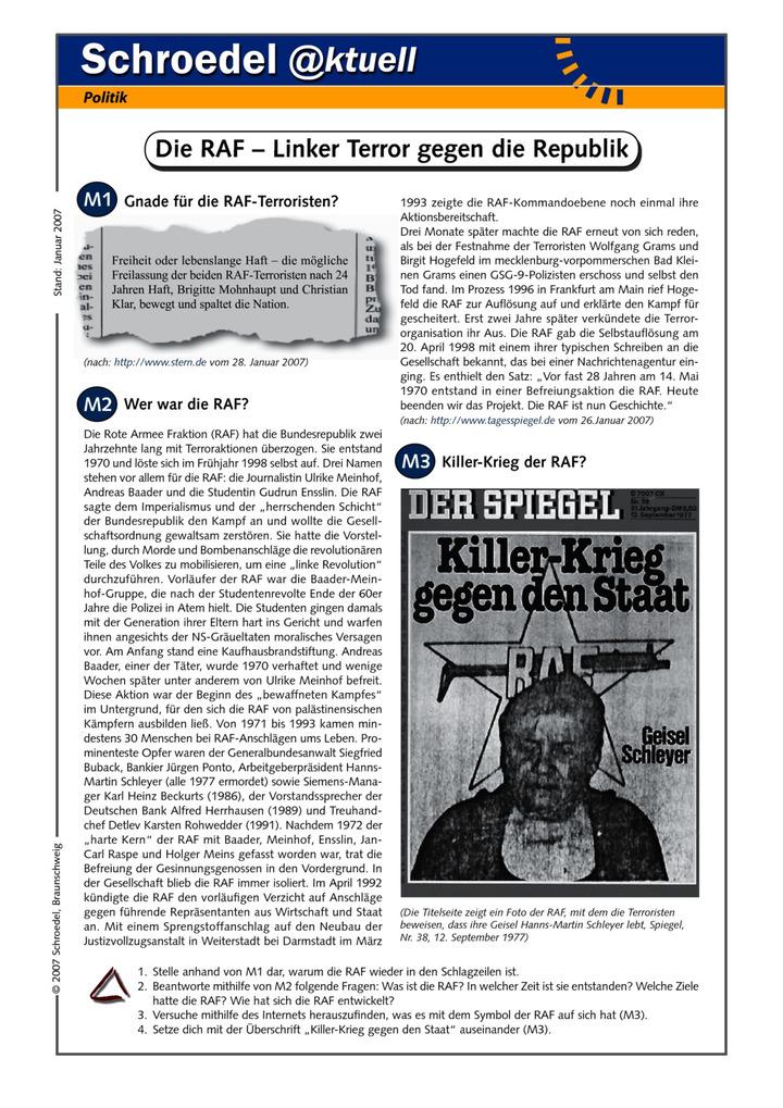 Die RAF – Linker Terror gegen die Republik - - ein Arbeitsblatt mit ...