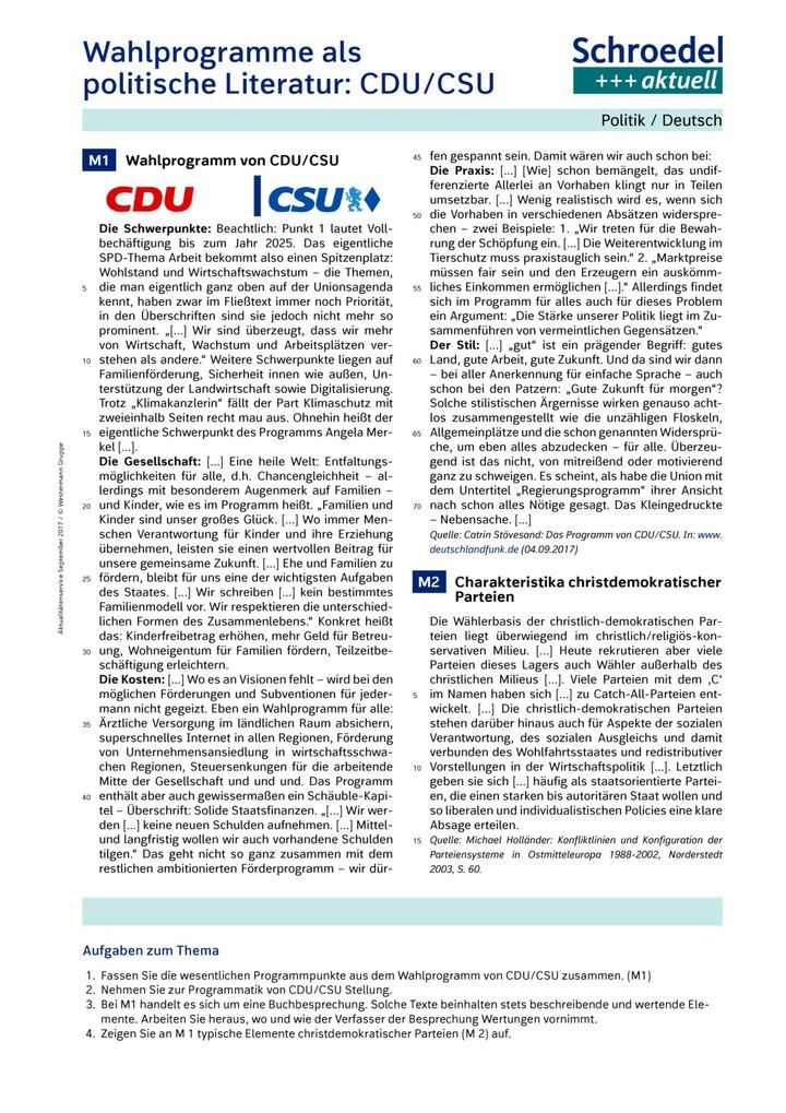 Wahlprogramme als politische Literatur: CDU/CSU - Politik / Deutsch ...