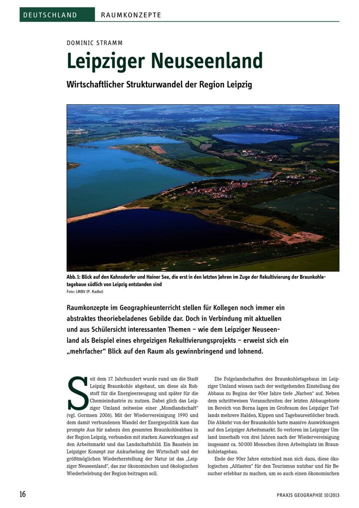 Leipziger Neuseenland - Wirtschaftlicher Strukturwandel der Region ...