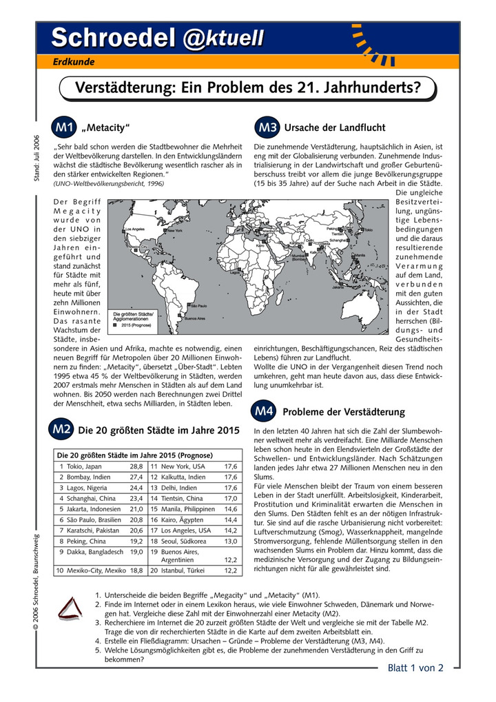 Verstädterung: Ein Problem des 21. Jahrhunderts - - ein Arbeitsblatt ...