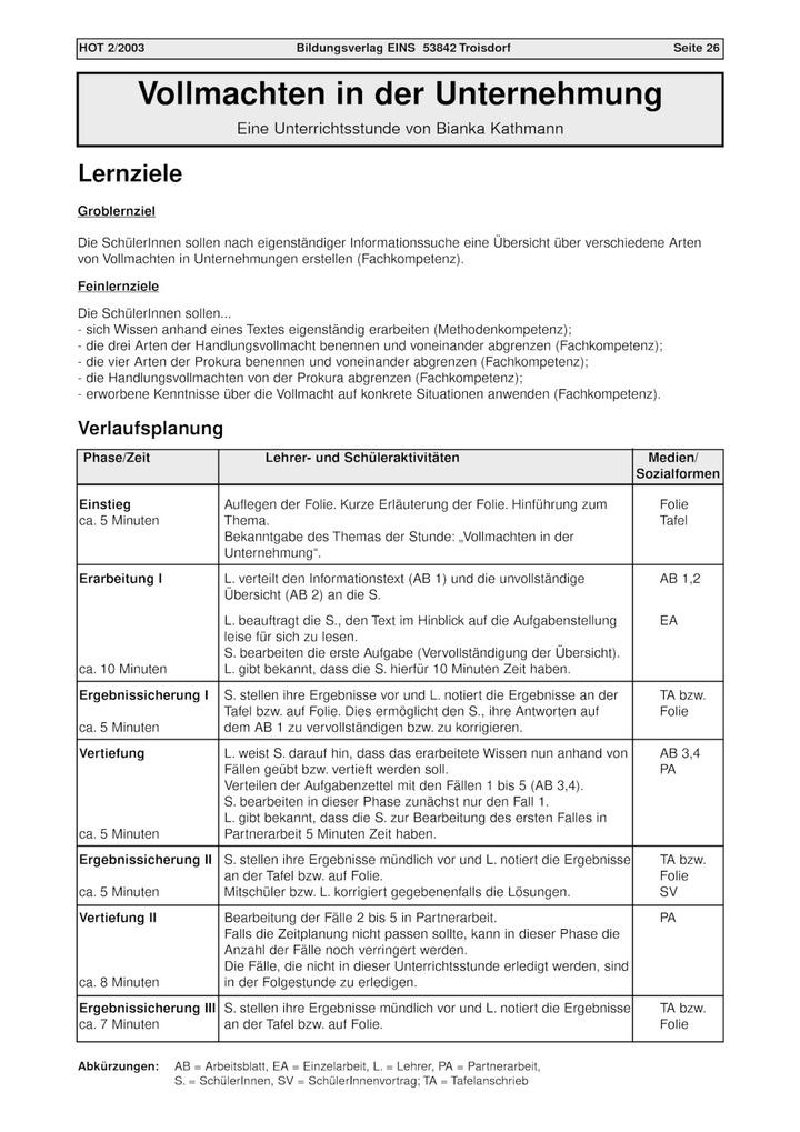 Vollmachten In Der Unternehmung Unterrichtsstunde Verlage Der