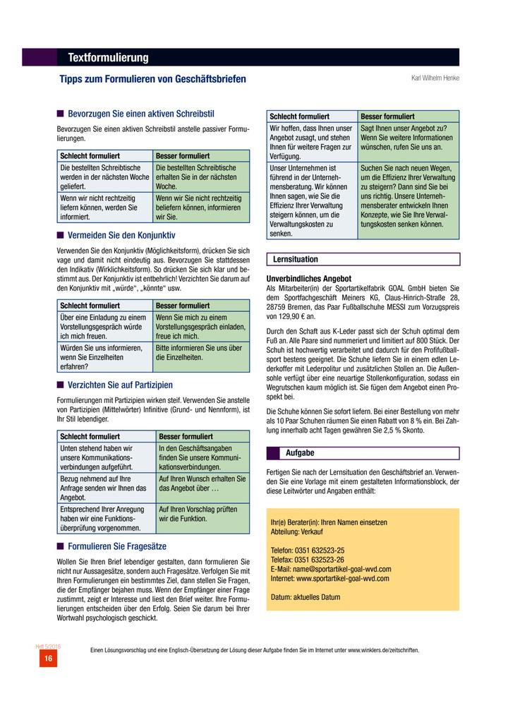 Tipps Zum Formulieren Von Geschäftsbriefen Westermann Verlag
