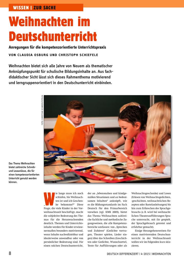 Weihnachten im Deutschunterricht - Anregungen für die ...