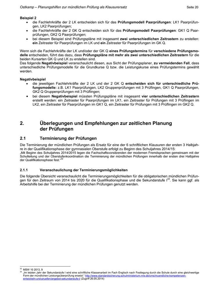 Planungshilfen Zur Mündlichen Prüfung Als Klausurersatz Lük