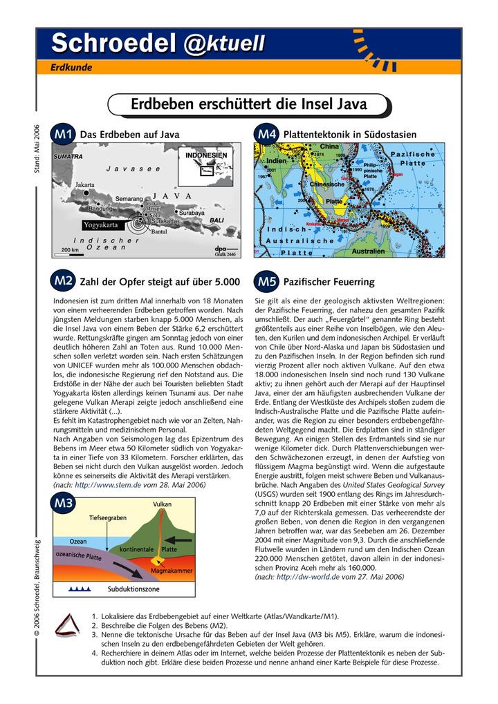 Erdbeben erschüttert die Insel Java - - ein Arbeitsblatt zum ...