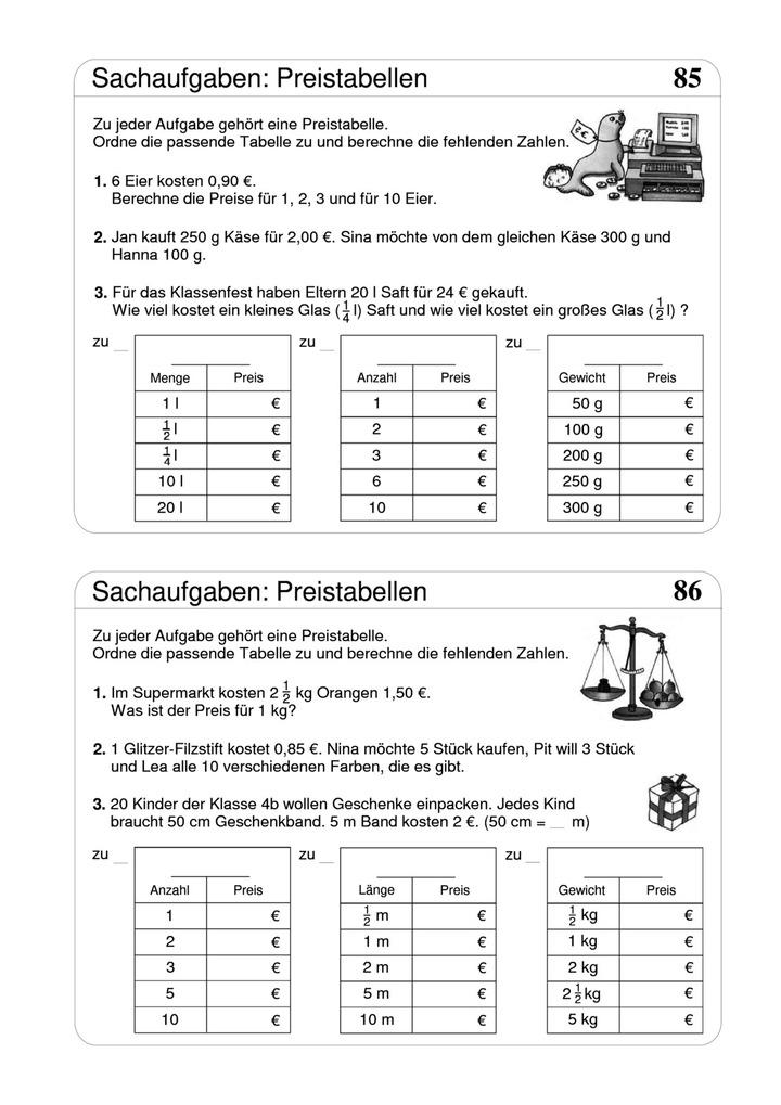 Sachaufgaben - Preistabellen: Verlage der Westermann Gruppe