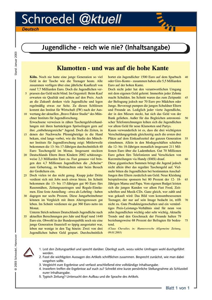 Jugendliche Reich Wie Nie Inhaltsangabe Ein Arbeitsblatt