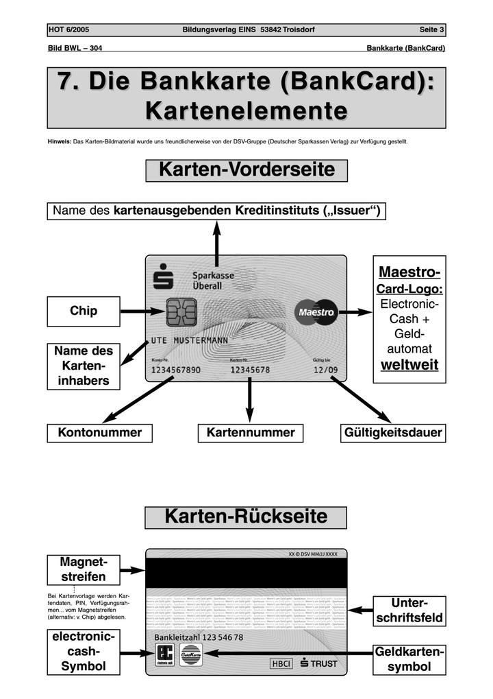Die Bankkarte - Kartenelemente - Arbeitsblatt: Verlage der ...