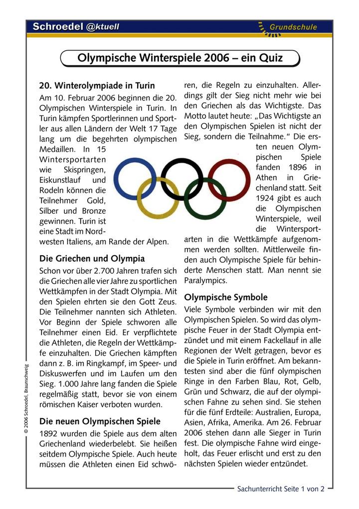 Olympische Winterspiele 2006 – ein Quiz - - ein Arbeitsblatt mit ...