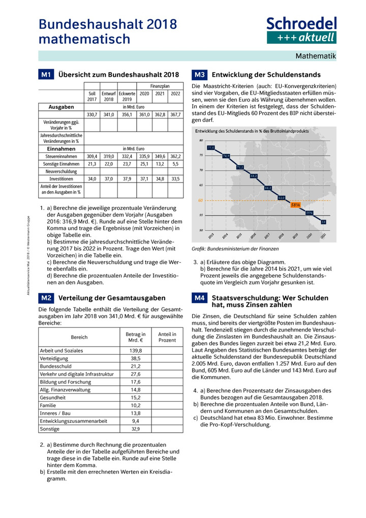 Bundeshaushalt 2018 mathematisch - - Mathematik ab Klasse 7 ...