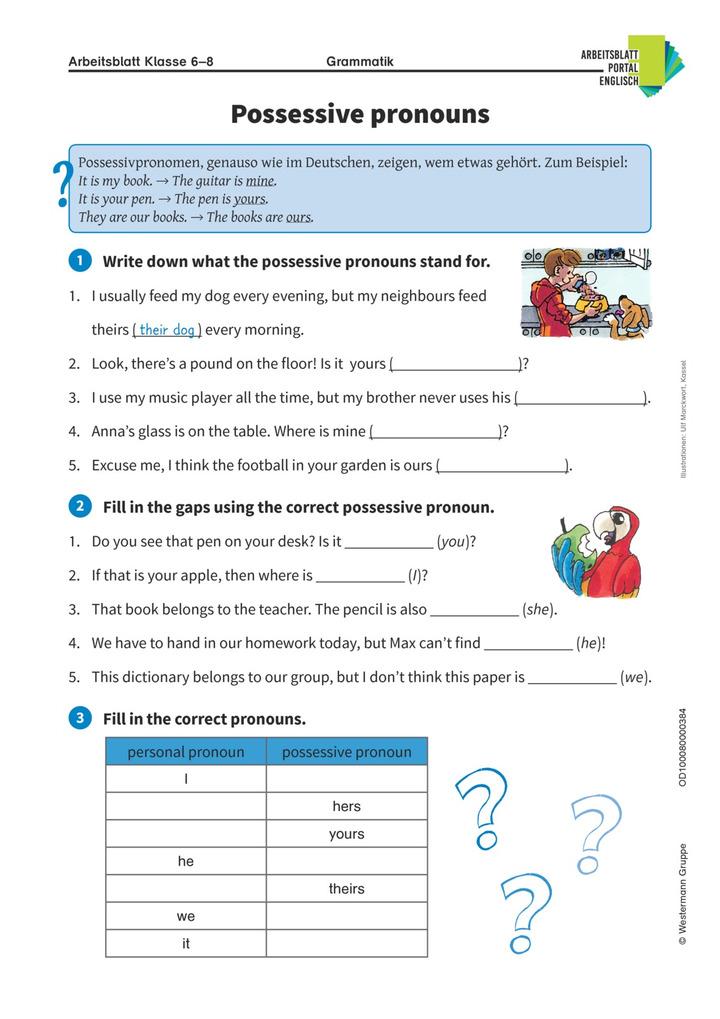 Possessive pronouns - Englisch-Arbeitsblatt zu Possessivpronomen ...